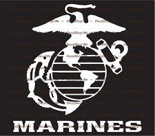 U.S. Marine Corps Mascot+Text - Sty.1 Vinyl Die-Cut Peel N' Stick Decal/Sticker