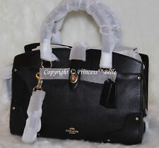 NEW! COACH Mercer 30 Satchel Grain Leather Bag Purse Handbag Black SHIPS FAST!