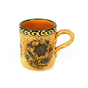 "Handmade Hand Painted Turkish Floral Ceramic Mug Floral Mug Coffee Mug  4"""