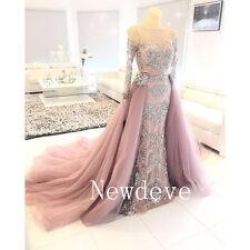 Crystals Peach Sheath Wedding Bridal Dress Long Sleeves Beads Detachable Train