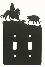 Cutting Horse Rodeo Calf Double Switch Cover Plate