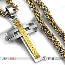 Men's Stainless Steel Large Cross Pendant with Byzantine Link Necklace Heavy P64