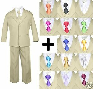 6pc Boy Kid Teen Formal Wedding Khaki Stone Suit Tuxedo Extra Satin Necktie S-4T