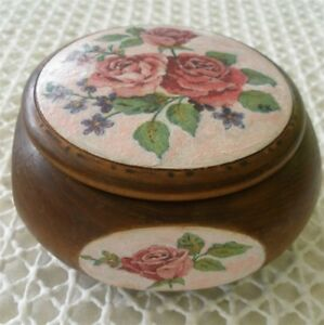 "French Squared Decoupage Wooden Box with Roses & Forget-me-nots 3.3"" x 3.3"" x 2"""