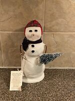 Byer's Choice  Ltd 2020 Snowman Holding A Cheistmas Tree Scarf And Hat