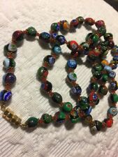 "Vintage FLOWER Venetian Millefiori Murano Glass Beads NECKLACE 24"" (cub)"