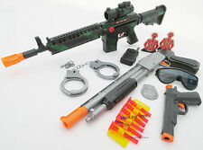 3x Toy Guns Friction M-16 Rifle Pump-Action Toy Shotgun & Colt .45 Dart Gun Set