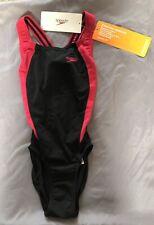 Speedo Razor Leaderbck Panel Girls/Ladies Swimsuit/Swimming Costume GB 28. BNWT