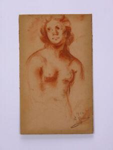 Edward Eugène Vallet (1876-1929) Attributed To Sanguine 1924 Geneve Swiss Naked