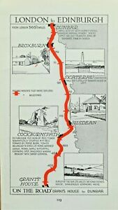 GRANTSHOUSE,SKATERAW, BILSDEAN,DUNBAR Original Antique Pictorial Road Map c1920