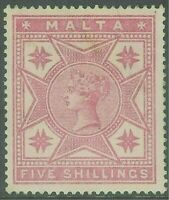 Malta 1886 rose 5/- crown CC mint SG30
