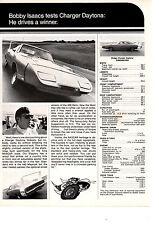 1969-1970 DODGE CHARGER DAYTONA / BOBBY ISAACS TEST ~ ORIGINAL MUSCLE CAR AD