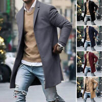 Vintage Mens Wool Trench Coat Winter Warm Long Jacket Single Breasted Overcoat