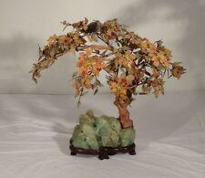 Antique Chinese Carved Hardstone Nephrite Jade Tree Carnelian Agate Fluorite