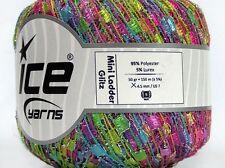 Jelly-Bling Mini Ladder Glitz Yarn #46977 Lime Lilac Pink Blue Silver Sparkle