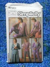Vintage sewing pattern.SIMPLICITY 7080. BLOUSE, SKIRT etc. Sizes 10 - 14. UNUSED