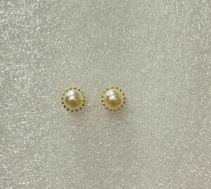 Classy Natural Pearl 4mm Single Stone 22k Gold Plated Mens Stud Earring Jewelry