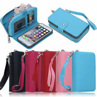 Zipper Detachable Wallet Card Slot Stand Remove Case Cover F iPhone6 7 8 Plus X