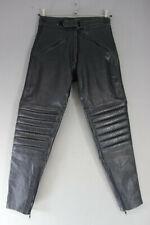 BLACK DYNAMIC LEATHER COWHIDE BIKER TROUSERS SIZE 14: WAIST 30IN/INSIDE LEG 30IN