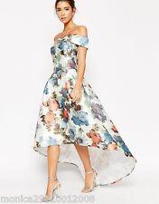 CHI LONDON Digital Estampado Floral Boda Dip Dobladillo Vestido Largo 6 8 10 12