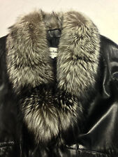 Vintage Evan Arpelli Soft Leather Jacket Silver Tipped Fox Fur Collar Women's S