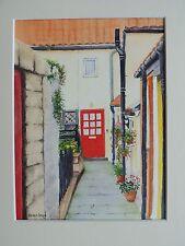Red Door Staithes, Yorkshire, Pintura Original Acuarela Firmada Con Montaje