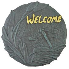 Dragonfly Welcome Plaque Decorative Cast Iron Stepping Stone Yard & Garden Decor