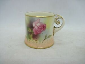 Royal Worcester blush ivory Hadley rose miniature mug - scroll handle dated 1911