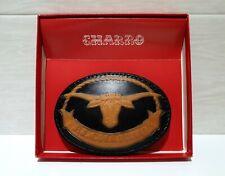 EL CHARRO Fibbia in Pelle Bisonte OVALE (7x10) VINTAGE Cintura ANNI 80 PANINARO