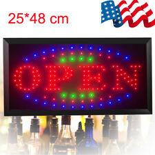 Us Ship 3Color Animated Led Light Business Open Sign On/Off Switch Bright Motion