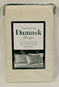 Charter Club Damask Stripe 100% Supima Cotton 550 Thread Count Standard Sham