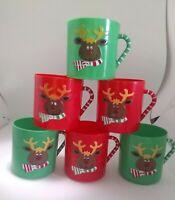 "6 VINTAGE Christmas  Plastic 3"" Cups  REINDEER  Red & Green EUC"