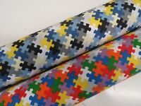 Children's Jigsaw Puzzle Colourful Cotton Curtain Fabric Upholstery *CRAFT*