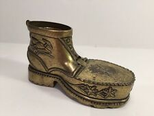Brass Boot Shoe Cigarette Holder ~ Trinket Box ~ Ashtray ~ Vintage Mid Century