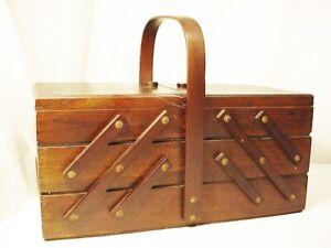 "Large Vtg Wooden Wood Accordion Sewing Craft Box Dovetail Beautiful 16"" FreeShip"
