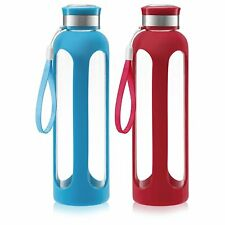 SWIG SAVVY Glass Water Bottles with Protective Silicone Sleeve & Stainless Steel
