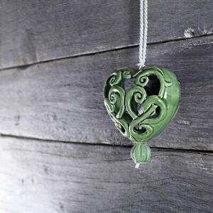 Keramik Herz für Fenster/Tür Dekoration | Grün | Aufhängen | Geschenkidee