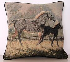 Horses - Gray Mare & Foal In Fenced Field By  N. Glazier  -Tapestry Pillow New