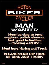 "Motorcycles Biker Man Wanted Humor 9"" x 12"" Metal Novelty Parking Sign"