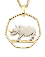 "Rhinosaurus Pendant and Necklace, Hand Cut Rhino Coin, 1 "" in Dia, ( # 931 )"