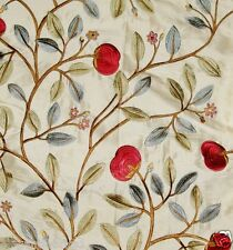 LEE JOFA KRAVET FLORAL EMBROIDERED SILK FABRIC 10 YARDS CRIMSON GREEN CREAM