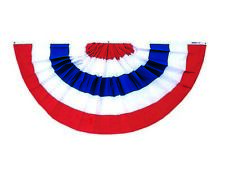 Patriotic Pleated Full Fan Bunting Stripes Only Poly Cotton Sheeting 3' X 6'