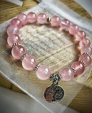 UK Ladies Pink Rose Quartz Tree of Life Pendant Wrap Bracelet Bangle for Women