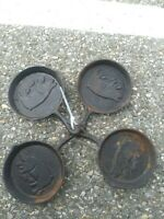 "Set of 4 Vintage No. 5 1/2""  Iron Frying Pan Skillet Pig Impression"