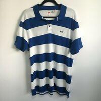 "Mens Levis Size XL White Blue Striped Short Sleeve Polo Shirt 42"" Chest Cotton"