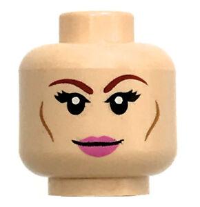 LEGO NEW LIGHT FLESH MINFIGURE HEAD FEMALE GIRL DUAL SIDED PINK LIPS PIECE