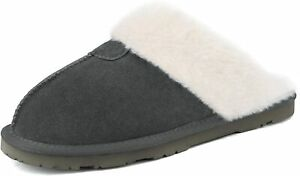 DREAM PAIRS Womens Suede Sheepskin Fur Slippers Comfortable House Shoes