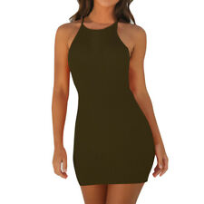 Women Summer Ribbed Bodycon Mini Dresses Ladies Strappy Clubwear Party Dress NEW