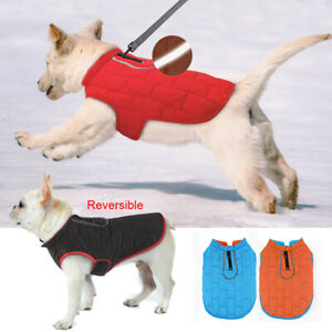 Reversible Small Large Dog Coat Waterproof Winter Clothes Refkective Pet Jacket