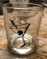 Vintage Martini Print Shot Glass with Ounce Measurements Printed .5 to 2 Oz